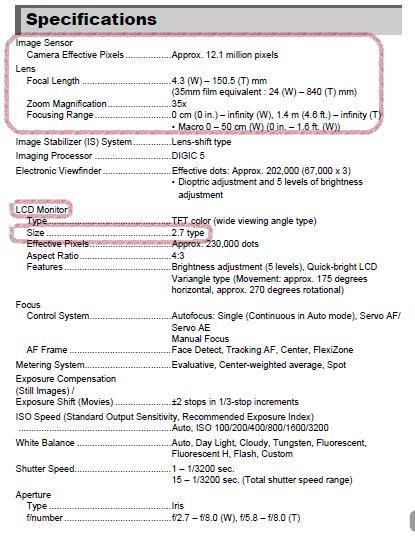 Camera Spec Sheet